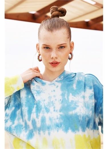 Latin Quarter Batik Desenli Kapüşonlu Balon Kollu Sweatshirt Mavi